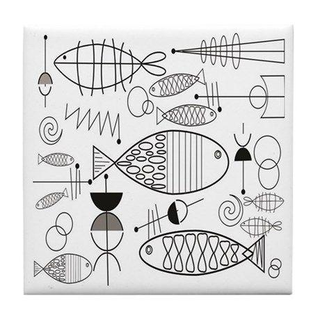 Mid-Century Fish Tile Coaster by Gigi