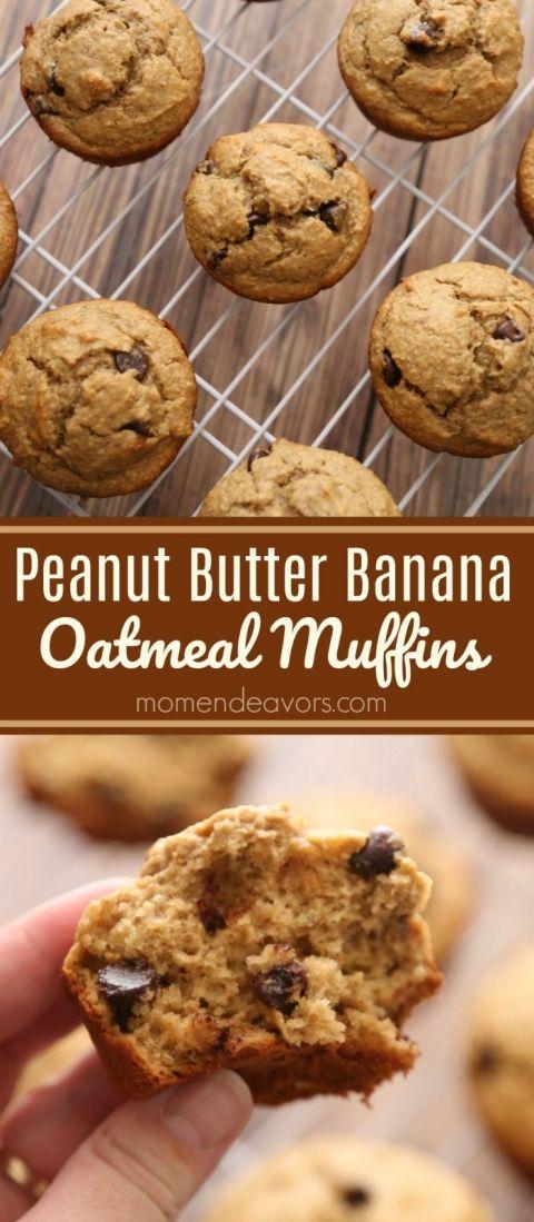 Peanut Butter Banana Oatmeal Muffins Recipe
