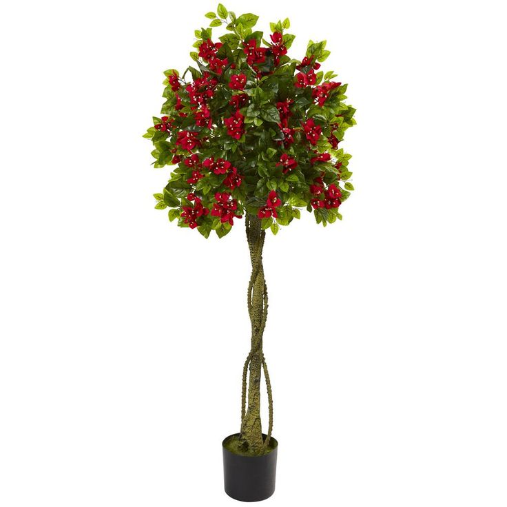 5 ft. Bougainvillea Artificial Topiary Tree, Red