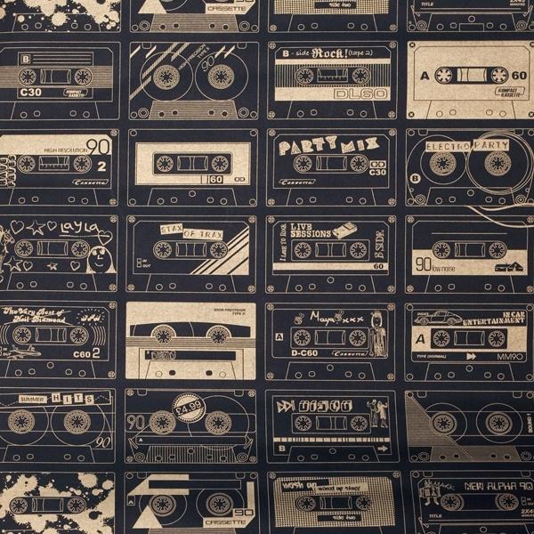 C60 Wallpaper/Cassettes wallpaper - Chalkboard/Gold