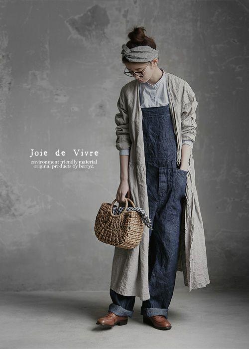 【送料無料】Joie de Vivreハードマンズリネン10ozデニムオーバーオール