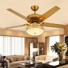 [ $20 OFF ] Modern 48 Inch Paint Gold Crystal Ceiling Fans With Lights Dining Room Bedroom Fan Lamp Remote Control Ventilador De Teto