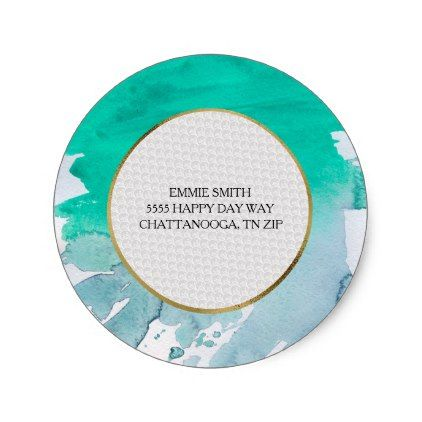 Personalized Green Watercolor Return Address Classic Round Sticker - monogram gifts unique design style monogrammed diy cyo customize