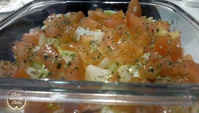 Tartar de Verduras y Atún. Receta de Microondas