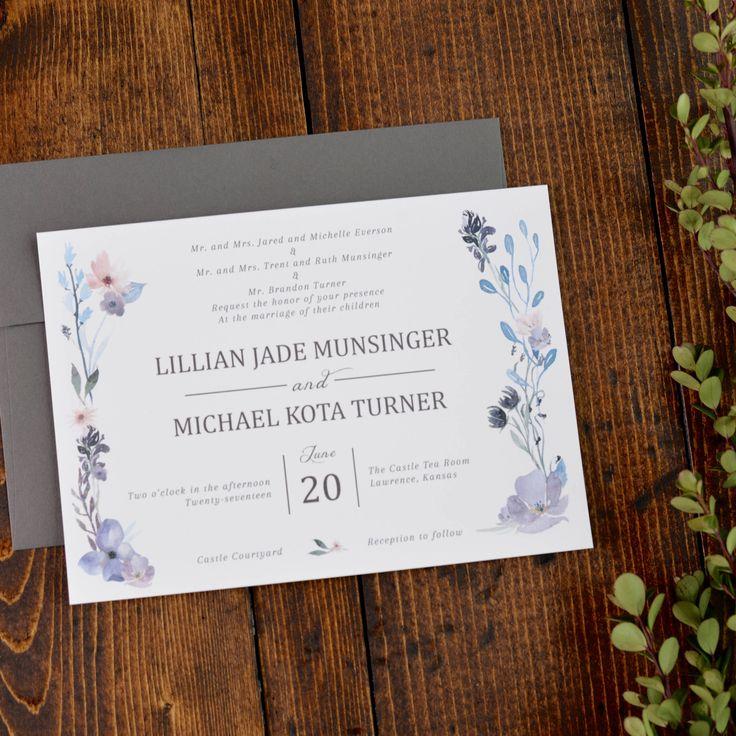 Springtime Floral Wedding Invitation Set Invite