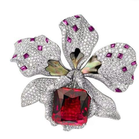 Cartier Brooch✨ Rubellite, Sapphires, Mother of Pearl, Diamonds