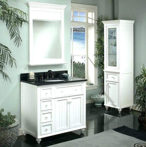 White Vanity Schwarz Top Schwarz Und Weiß Badezimmer ...