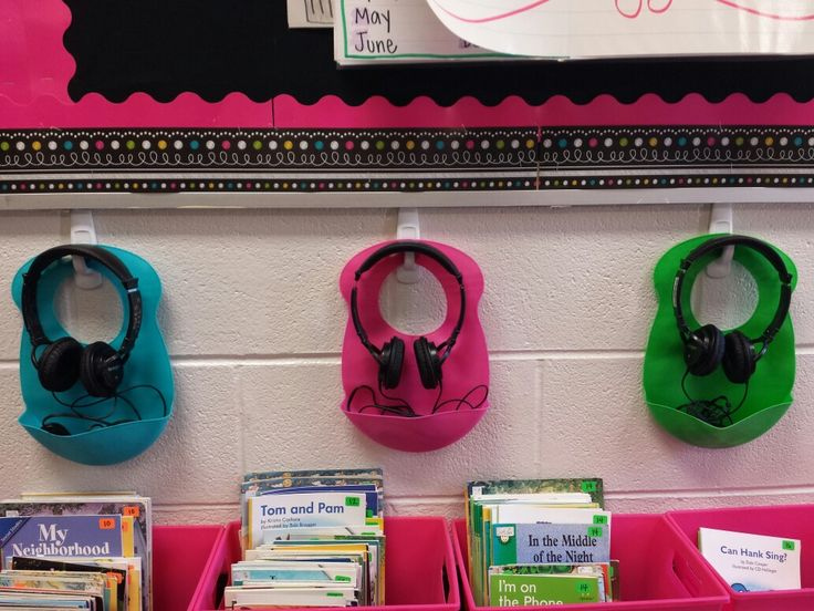 Use command hooks and baby bibs for tidy headphone storage!