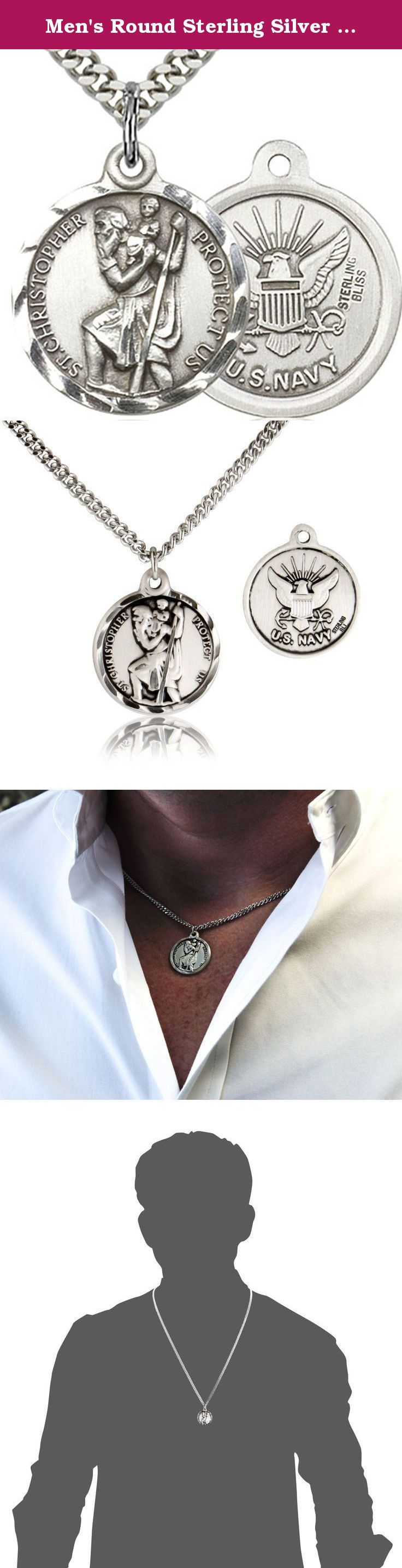 """Men's Round Sterling Silver St. Christopher Navy Medal + 24 Inch Sterling Silver Chain & Clasp. This St. Christopher round Navy Medal is a great addition to anybody who is in the Navy or would like to protect a loved one. The front of the medal depicts an image of St. Christopher with the words around the image reading """"St. Christopher Protect Us"""". The back of the medal depicts the U.S Navy emblem. Select above which chain style you want from the style options above: * a 24 inch stainless..."""