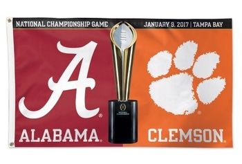 2016 Football National Championship 3x5 Flag Clemson vs Alabama