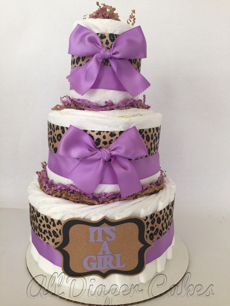 Itu0027s A Girl Leopard Diaper Cake In Lavender, Leopard Baby Shower  Centerpiece For Girls,