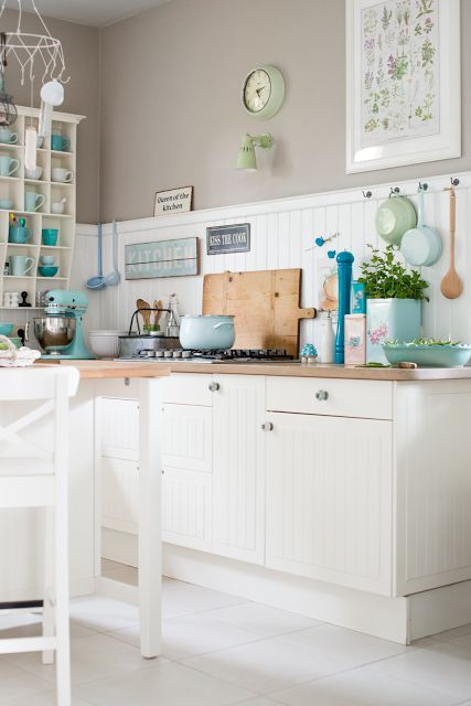 Minty House Blog -  use your favourite colours to brighten up a white or neutral kitchen.