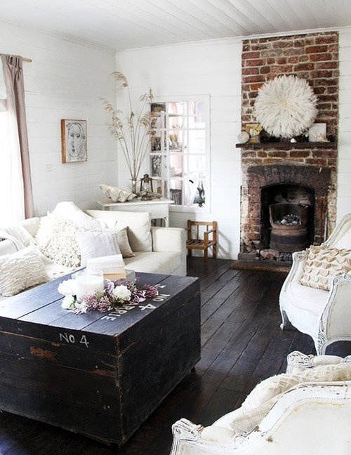white on white on rustic dark floors + old 1900s brick + victorian/grandma furniture with a modern simplistic twist of fabric choice & style = Love Love Love