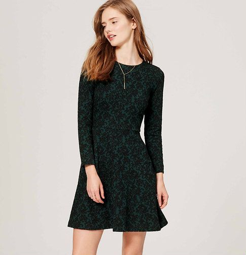 "In a vine-inspired floral jacquard, this stretchy dress endlessly flatters with a perfectly flared fit. Round neck. Long sleeves. Seamed paneling at skirt. Back zip. 21 1/2"" from natural waist."