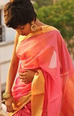 This Chanderi saree is a dream to drape and the weave is magical. Borders have a beautiful woven border, same pattern is repeated on the pallu. Blouse comes along with the saree with the same weave on the borders for sleeves.