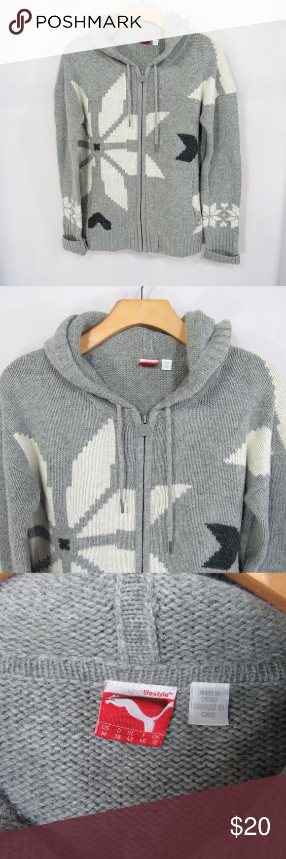 PUMA LIFESTYLE Gray Sz M Hooded Cardigan Sweater 70% Acrylic, 30% Wool   Hooded Full Zip Cardigan Sweater Gray with White snowflakes Side Pockets. Pre-loved, very warm comfy sweater, still in good condition! No Flaws Puma Sweaters Cardigans