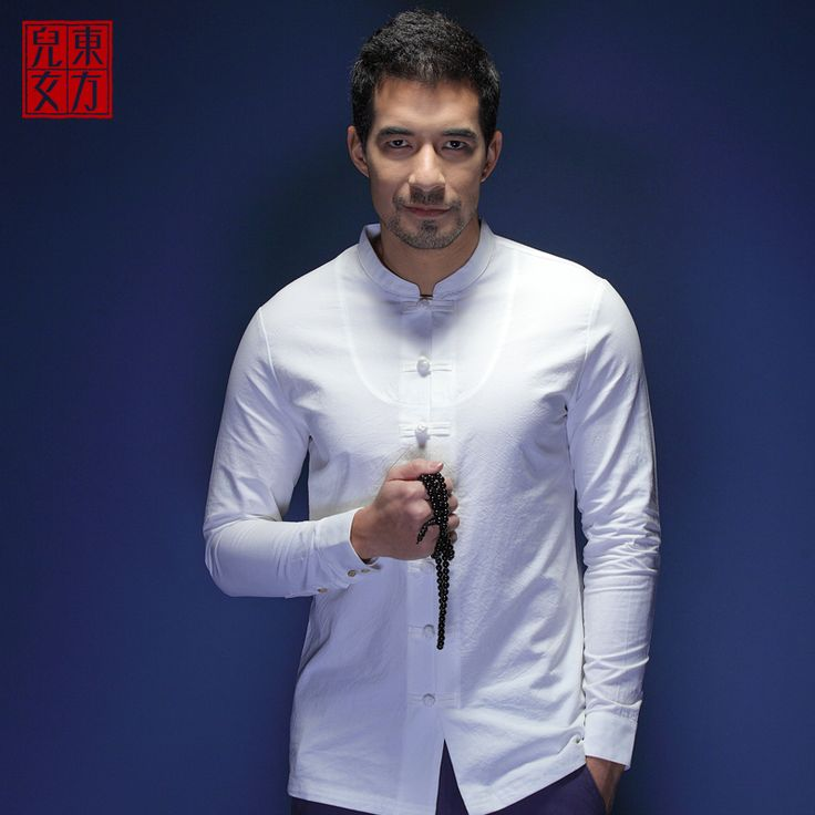Attractive Frog Button Modern Chinese Shirt - White - Chinese Shirts & Blouses - Men