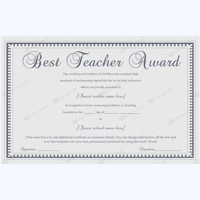 Teacher Awards, Certificate