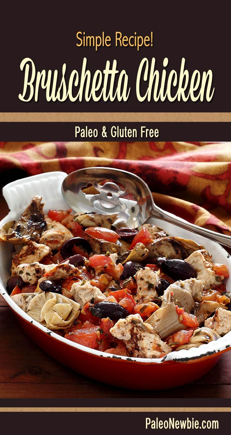 A favorite appetizer made into a Mediterranean-style baked chicken entrée. Healthy and loaded with awesome flavors. Easy prep and bakes in 30 minutes. #paleo #glutenfree