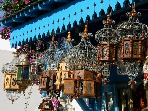 Tunisian bird cages for sale in Sidi Bou Said. I could add these to my collection