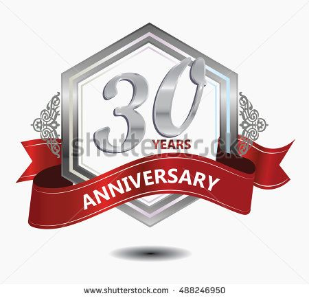 30 years anniversary hexagonal style logo with silver combination red ribbon. anniversary logo for celebration, birthday, wedding, party. anniversary logo 30th