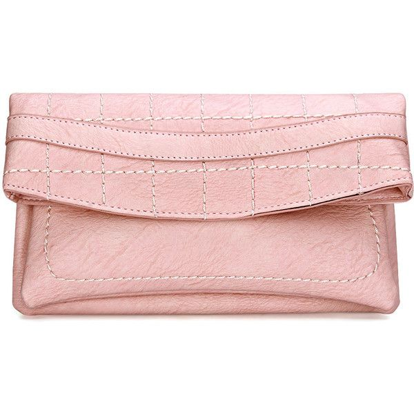 Yoins Pink Leather-look Fold Over Clutch Bag with Allover Seam Detail ($29) ❤ liked on Polyvore featuring bags, handbags, clutches, yoins, pink, vegan handbags, vegan purses, imitation handbags, foldover handbag and vegan leather purse