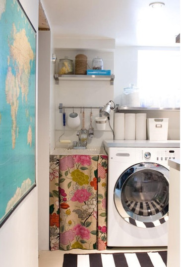 utility roomIdeas, Curtains, Inspiration, Skirts, Sinks, World Maps, Laundry Rooms, Stripes, Laundryroom