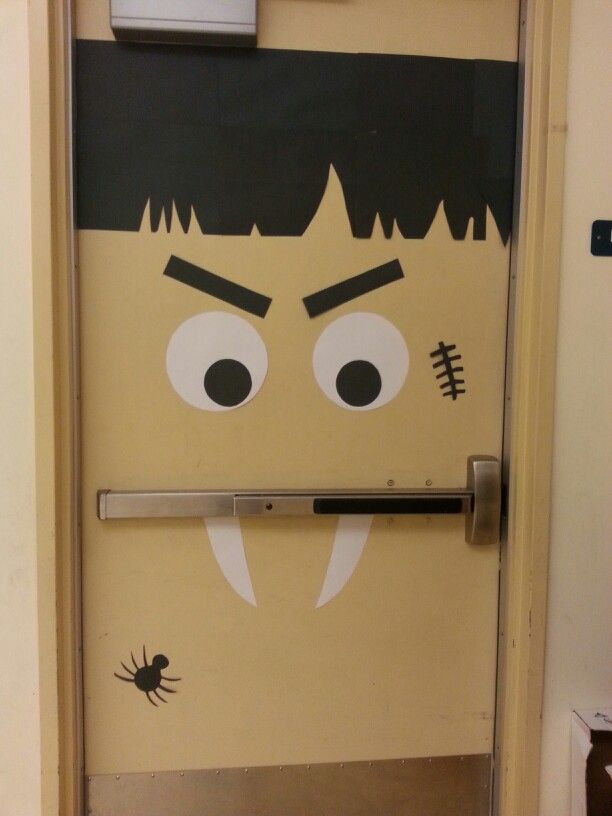 halloween door classroom halloween decoration scary face using door simple easy all is construction - How To Make Paper Halloween Decorations