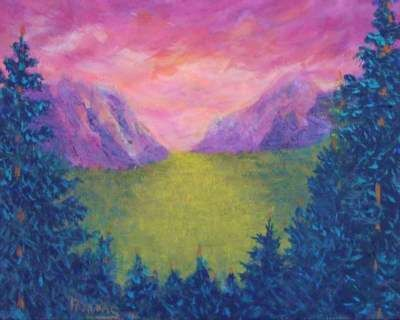 Yosemite valley sunrise.  Available paintings can be seen in my ebay store: Pat-Adams-Art-Paintings-and-Photos