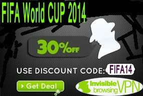 """For FIFA World Cup, ibVPN have prepared a promo code """"FIFA14″ to get any VPN or DNS package with 30% OFF (time limited offer). Invisible Browsing VPN provide ibDNS and ibVPN solution!  http://www.bestvpnserver.com/top-vpn-service-fifa-world-cup-promotions-2014/"""