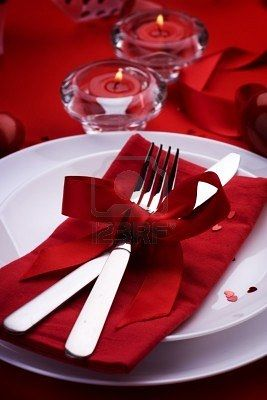 Table for two, please... At home! I prefer the intimacy of dining in on Valentine's Day.  I'll set the table in red with tons on candles!