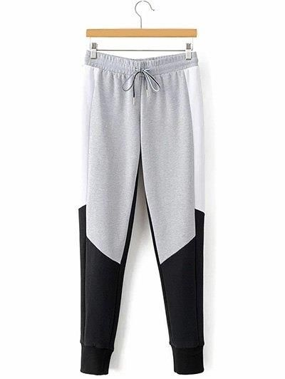 Lazo del bloque del color de los pantalones estrecha Pies