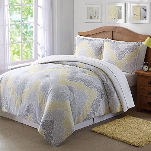 Girls Chevron Comforter Twin XL Set Pretty Medallion Flower Mandala Motif Bedding Floral Lace Horizontal Zigzag Themed Light Yellow Grey Gray Off