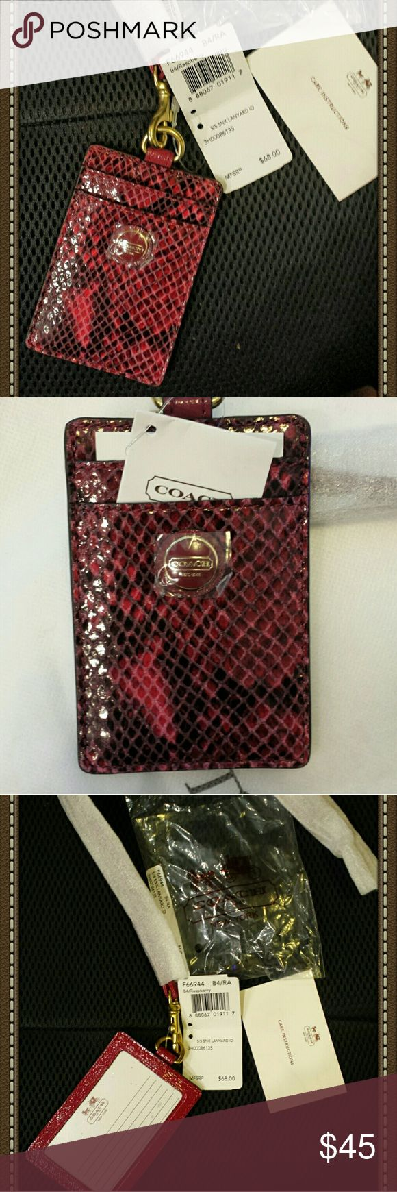 NWT COACH Snake Skin Embossed Leather ID Landyard NWT, RARE COACH Snake Skin Embossed Leather ID Landyard. Front side has the Coach emblem with 3 credit card slots. Flip side has ID slot w plastic cover. This Landyard is one of the hardest find design n color. Raspberry. Coach Accessories Key & Card Holders