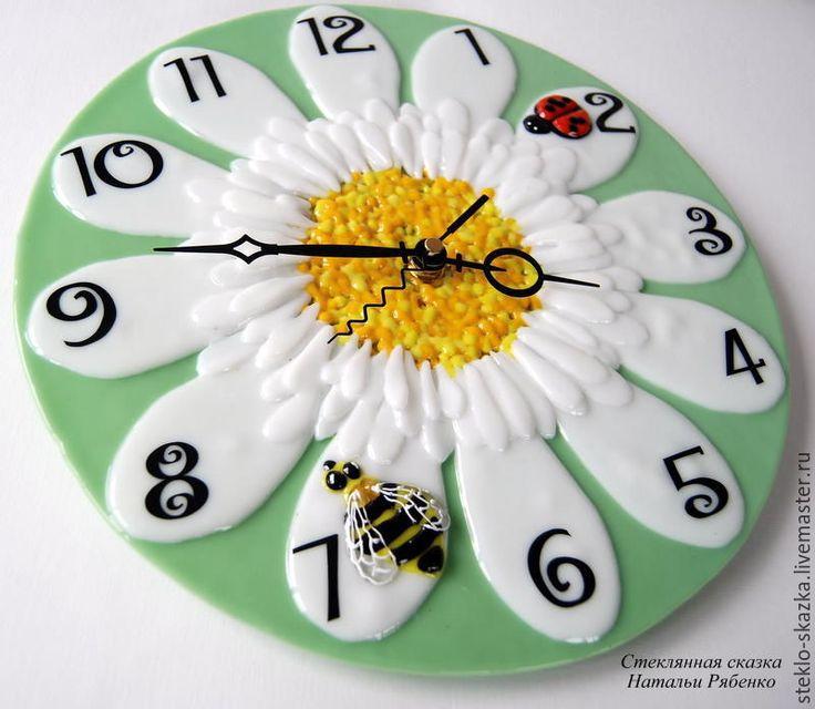 Купить Часы настенные Нежная ромашка - комбинированный, часы, часы настенные, часы интерьерные