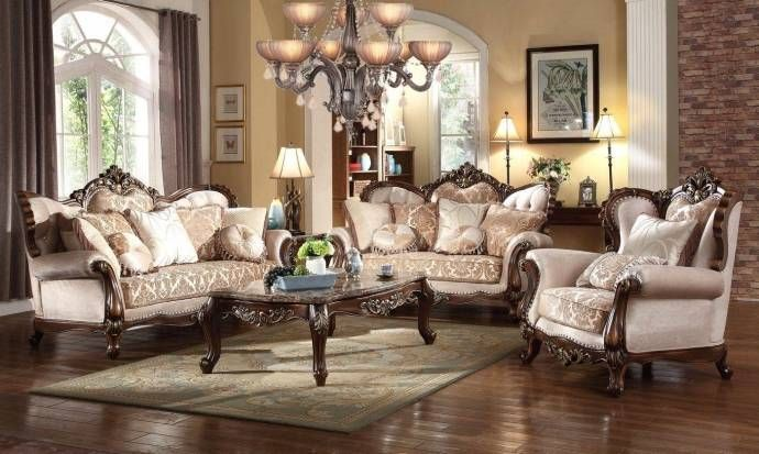 Victorian Beige Gold Chenille Fabric Sofa Set 3pcs Carved Wood