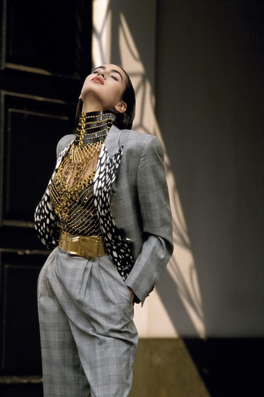 Maria Cabrera Bucellat in Gianni Versace Ensemble, photographed by Bob Krieger, 1984