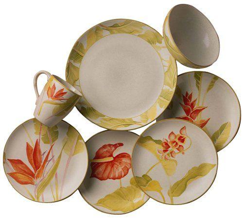 Tropical Dinnerware | ... Livingware 16-Piece Dinnerware Set, Service for 4, Tropical Breeze