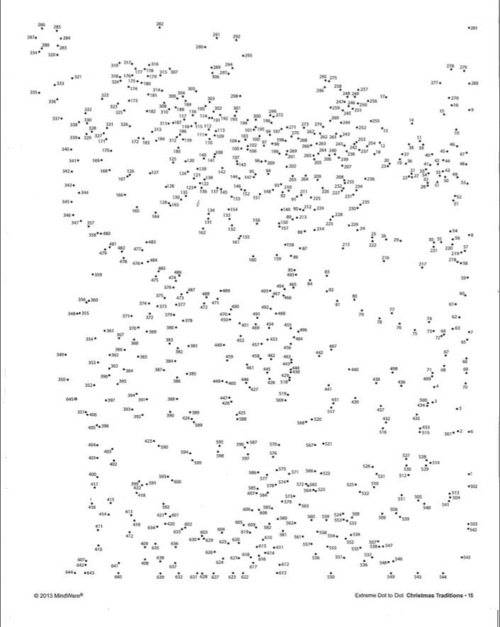 Happy Holidays from MindWare! Here's a free Extreme Dot to Dot printable from our Christmas Traditions book. Connect the dots to form the picture and then color it in!