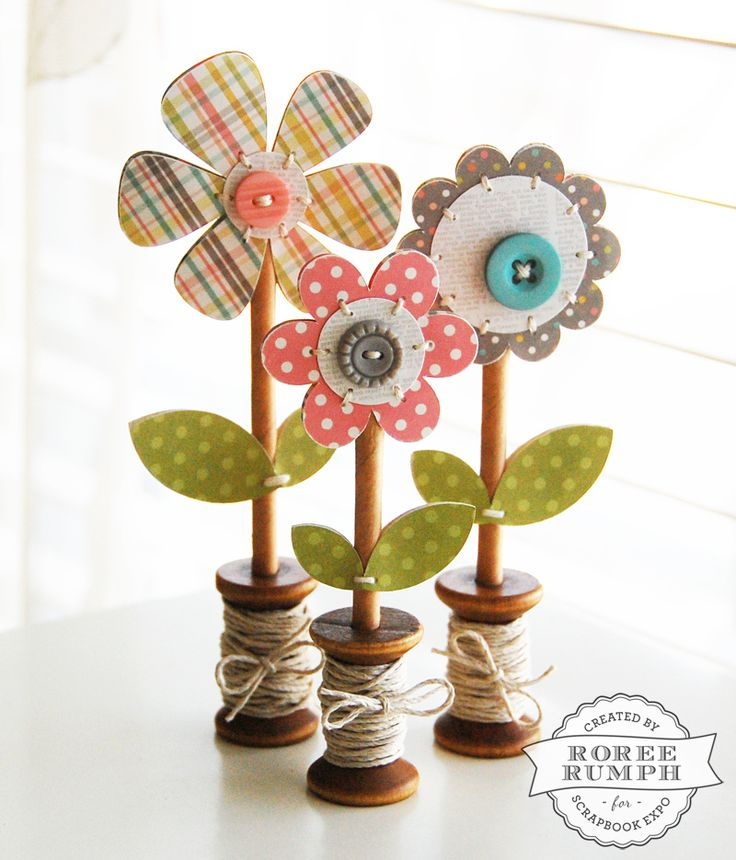 Wooden Spool Flowers by Roree Rumph #ScrapbookExpo #WeeklyScrapper