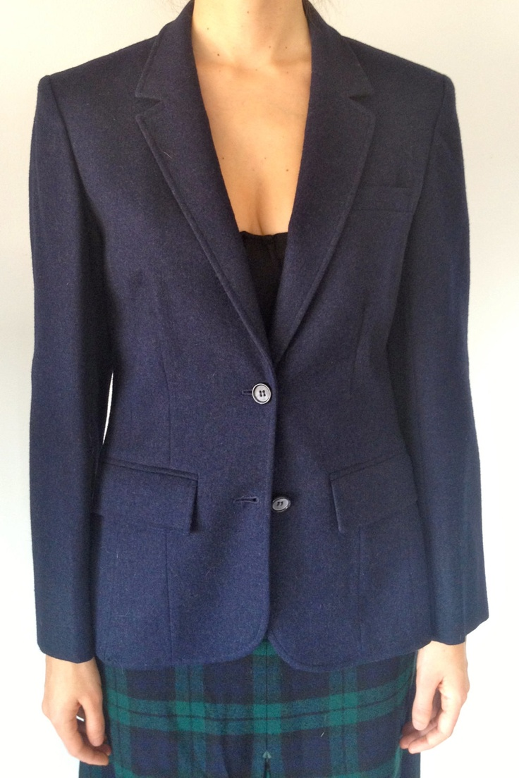 60's/70's Pendleton wool tailored navy blue blazer, s-m. $38.00, via Etsy.