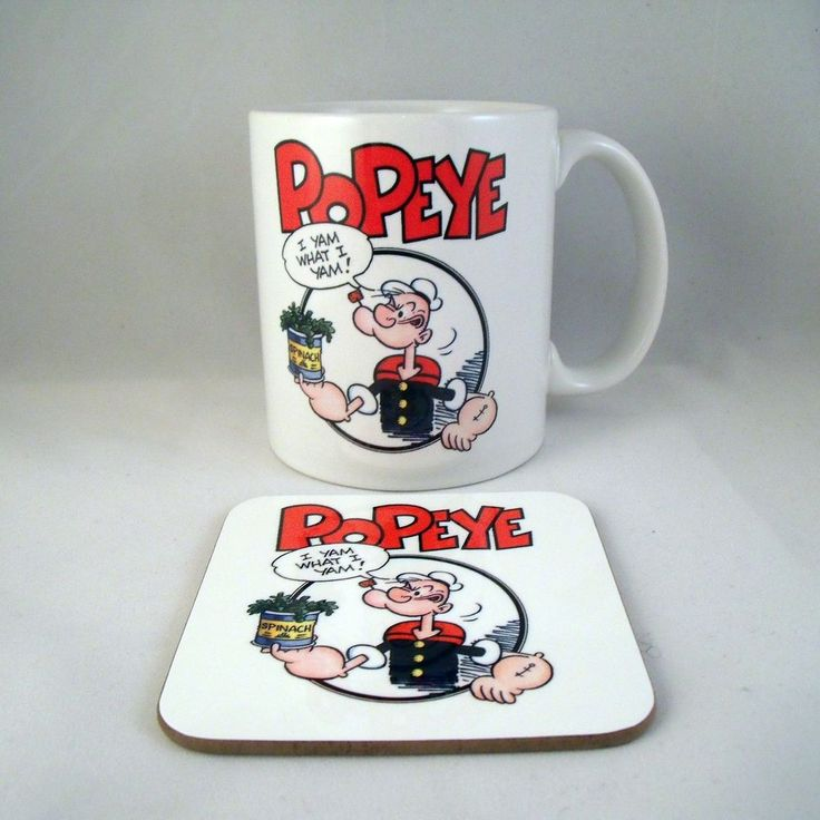 Popeye Coffee Mug - Coaster - Cup - Cartoon - Novelty - Xmas - Gift