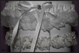 White Double Laced Stretch and White Stretch Sparkle Garter Combination