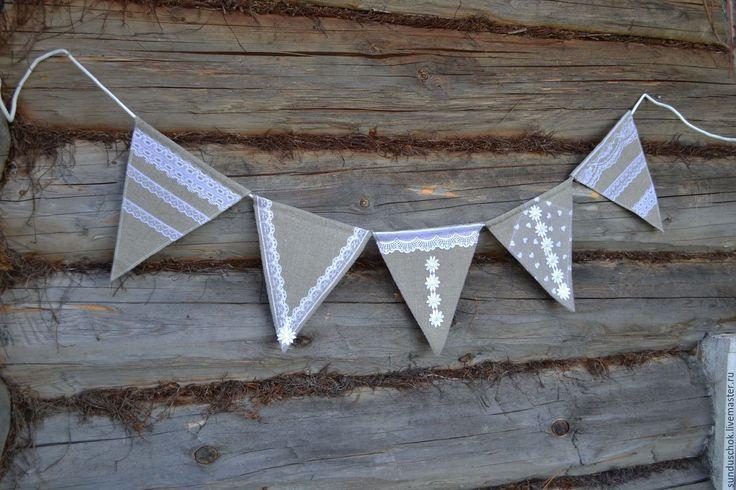 Купить Флажки для свадьбы в стиле рустик (гирлянда из флажков) - флажки для свадьбы, гирлянда из флажков, флажки