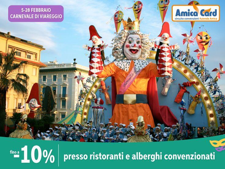 A CARNEVALE...OGNI SCONTO VALE! Goditi il fantastico Carnevale di Viareggio dal 5 al 28 febbraio e approfitta degli #sconti fino al 10% presso #ristoranti e #alberghi convenzionati Amica Card. Registrati e scarica lo sconto su AmicaCard.it #Viareggio #Carnevale #città #Italia #risparmio #amicacard #convenzioni #carnival #costume #maschera