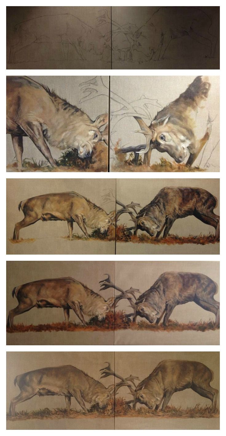 """Rutting stag art from sketch to signature by Tony O'Connor 96x36"""" diptych whitetreestudio.ie"""
