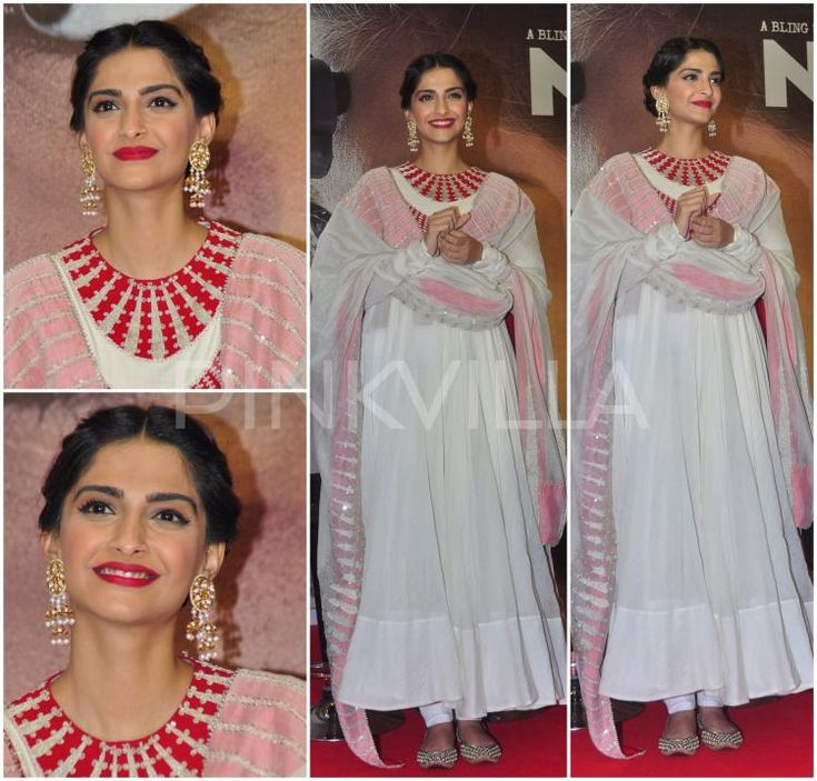 Sonam Kapoor in a white Anamika Khanna anarkali that had a contrast red embroidery