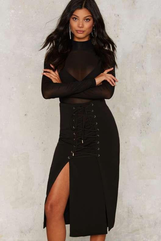 Lavish Alice Demi Lace-Up Midi Skirt