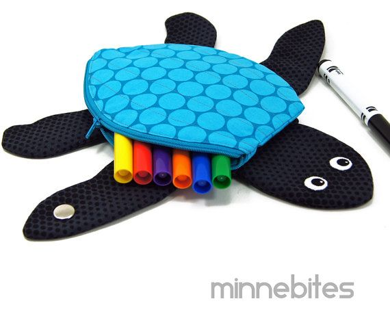 Sea Turtle Pouch by MinneBites / Handmade Cute Turtle Toy - Blue Kids Bag - Cute Ocean Animal - Kids Gift Plush Toy - Ready to Ship