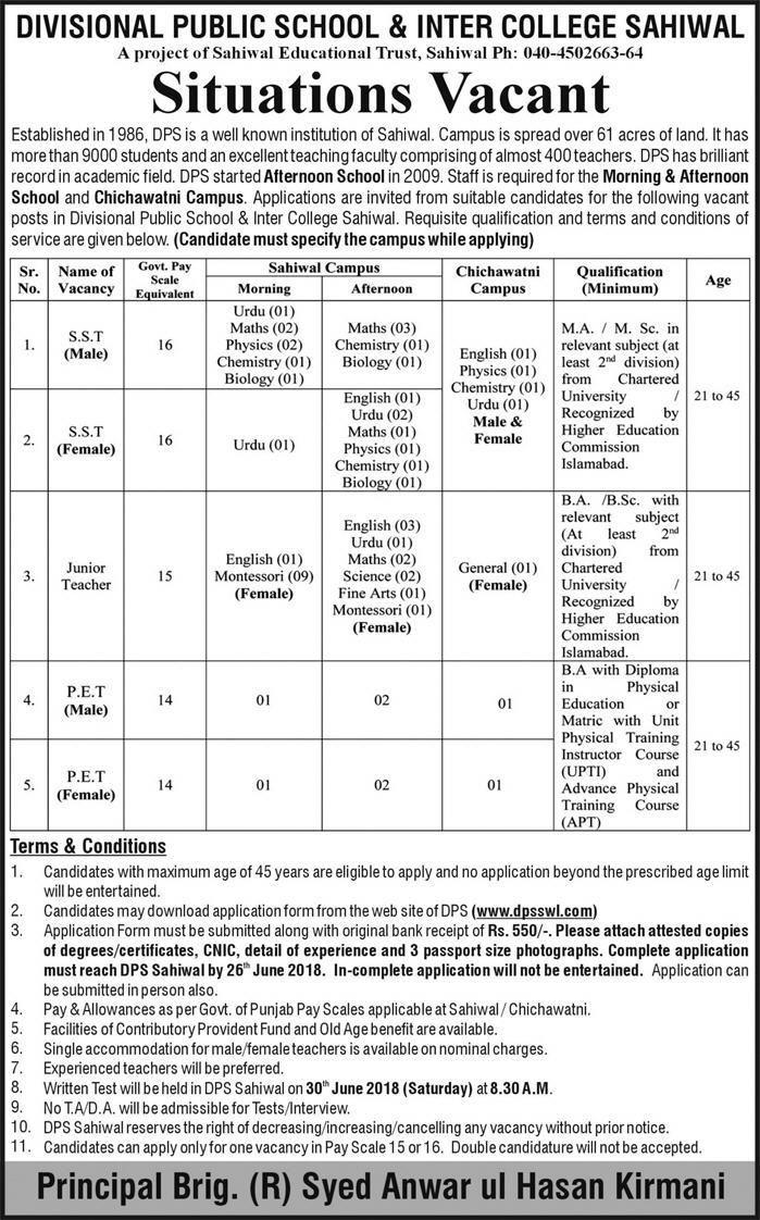 Teaching Jobs Dps Divisional Public School Inter College Sahiwal